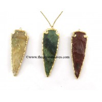 "3.5"" Fancy Jasper Arrowhead  Gold Electroplated Pendant"