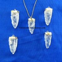 Crystal Quartz 4 Side Handknapped Tooth  Gold Electroplated Cap Pendant