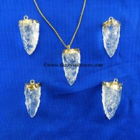 Crystal Quartz 3 Side Handknapped Tooth  Gold Electroplated Cap Pendant