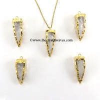 Crystal Quartz 4 Side Handknapped Tooth  Gold Electroplated Pendant