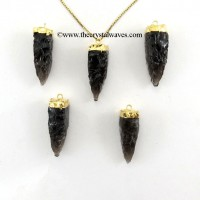 Black Obsidian  4 Side Handknapped Tooth  Gold Electroplated Cap Pendant