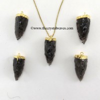 Black Obsidian  3 Side Handknapped Tooth  Gold Electroplated Cap Pendant