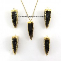 Black Obsidian  4 Side Handknapped Tooth  Gold Electroplated Pendant