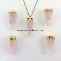 Rose Quartz  4 Side Handknapped Tooth  Gold Electroplated Cap Pendant