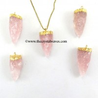 Rose Quartz  3 Side Handknapped Tooth  Gold Electroplated Cap Pendant