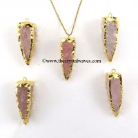 Rose Quartz  4 Side Handknapped Tooth  Gold Electroplated  Pendant