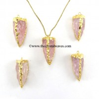 Rose Quartz 3 Side Handknapped Tooth  Gold Electroplated  Pendant