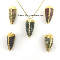 Fancy Jasper  3 Side Handknapped Tooth  Gold Electroplated  Pendant