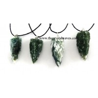 Moss Agate 3 Side Handknapped Tooth Pendant