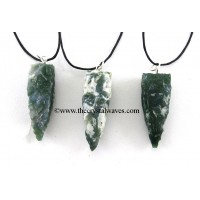 Moss Agate 4 Side Handknapped Tooth Pendant