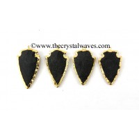 Black Agate Gold Electroplated Arrowhead