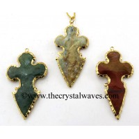 Agate Flower Bottom Gold Electroplated Arrowhead Pendants