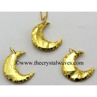 Agate Moon Full Gold Electroplated Pendant