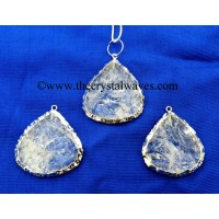 Crystal Quartz Big Heart Handknapped Rhodium Electroplated Pendant