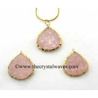 Rose Quartz Big Heart Handknapped Gold Electroplated Pendant