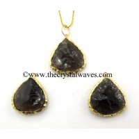 Black Obsidian Heart Handknapped Gold Electroplated Pendant