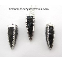 Black Obsidian  4 Side Handknapped Tooth Rhodium Electroplated Pendant