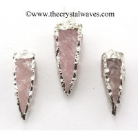 Rose Quartz 4 Side Handknapped Tooth Rhodium Electroplated Pendant