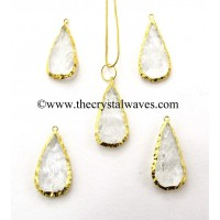 Crystal Quartz Pear Handknapped Gold Electroplated Pendants