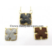 Agate Arrowhead Square Double Drill Gold Electroplated Pendant