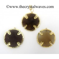Agate Viking's Cross Shape Gold Electroplated Pendants