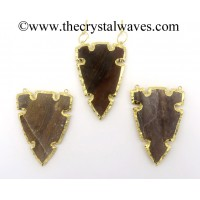 Agate Double Drill 6 Notch Arrowhead Gold Electroplated Pendants