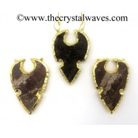 Agate Shark Tooth Notched Arrowhead Shape Gold Electroplated Pendants