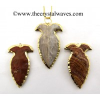 Agate Vase Shape Electroplated Arrowhead Pendants