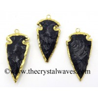 "Blue Gold Stone 2"" - 2.50"" Gold Electroplated Arrowhead Pendants"