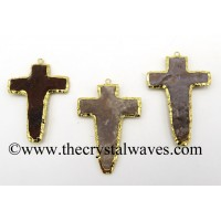 Agate Handknapped cross gold Electroplated pendant
