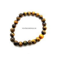 Tiger Agate Round Beads Stretchable Bracelet