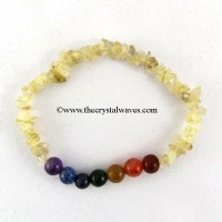 Golden Rutilated Quartz Chips  Chakra Bracelet