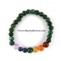 Green Aventurine Faceted Drum polished Round Beads  Chakra Bracelet