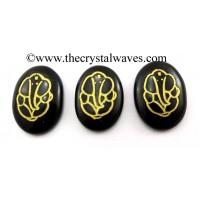 Black Agate Oval Fine Engraved Ganesha