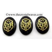 Black Agate Oval Fine Engraved Ganesh