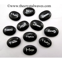 Black Agate Oval Fine Engraved Words 11 Pc Set