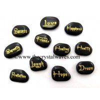 Black Agate Fine Engraved Words 11 Pc Set