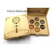 Buddha Engraved Wooden Box With Gemstone Cabochon Engraved Chakra Set