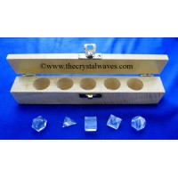 Crystal Quartz 5 Pc Geometry Set With Wooden Box