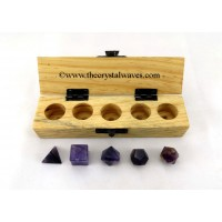 Amethyst 5 Pc Geometry Set With Wooden Box