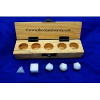 White Aventurine 5 Pc Geometry Set With Wooden Box