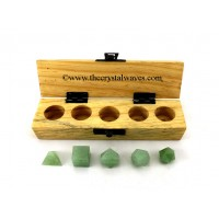 Green Aventurine 5 Pc Geometry Set With Wooden Box