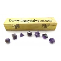 Amethyst 7 Pc Geometry Set With Wooden Box