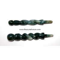 Moss Agate Twisted Healing Stick