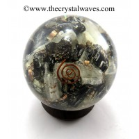 Black Tourmaline & Selenite Chips Orgone Ball / Sphere