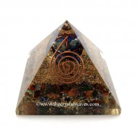 Chakra Orgone Pyramids With Copper Wrapped Lapis Lazuli Merkaba