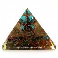 Chakra Orgone Pyramids With Copper Wrapped Turquoise Merkaba