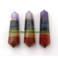 "7 Chakra Bonded 2 - 3"" Double Terminated Pencil"