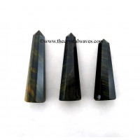 Blue / Black Tiger Eye Agate 1.5 to 2 Inch Pencil 6 to 8 Facets