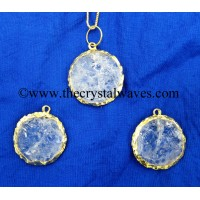 Crystal Quartz Handkanpped Round Gold Electroplated Pendant